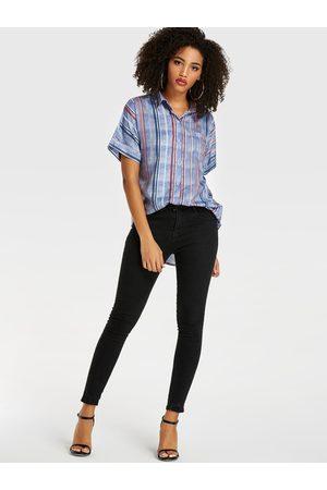 YOINS Women Short Sleeve - Multi Stripes Revere Collar Short Sleeves Blouse