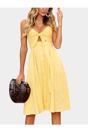 YOINS Bowknot Cut-out Design V-neck Sleeveless Dress