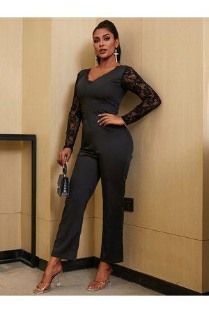 YOINS Black Patch Lace Long sleeves Jumpsuit