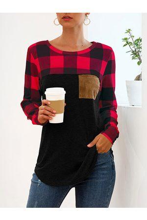 YOINS Pocket Design Plaid Splice Round Neck Long Sleeves Tee
