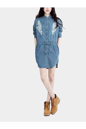 YOINS Denim Embroidery Shirt Dress