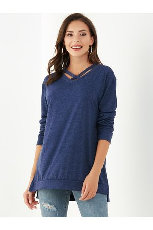 YOINS Criss-cross Slit Hem V-neck Sweatshirt