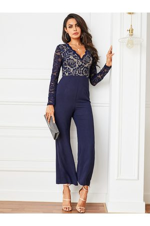 YOINS Navy Lace Long Sleeves Jumpsuit