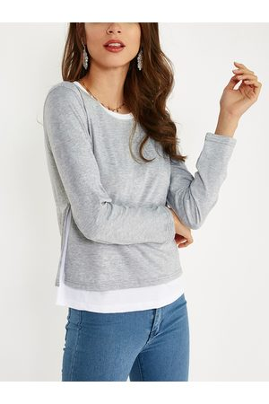 YOINS Cozy Round Neck Long Sleeves Slit Side Two in One Top