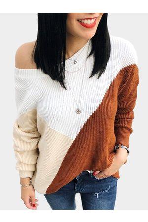 YOINS Color Block Adjustable Neckline Long Sleeves Loose Sweaters