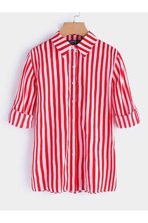 YOINS Stripe Standard Collar Long Sleeves Top