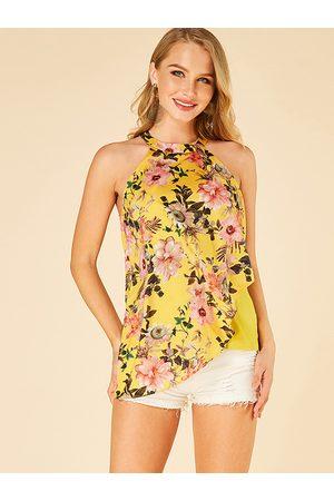 YOINS Double Layer Floral Print Halter Camis