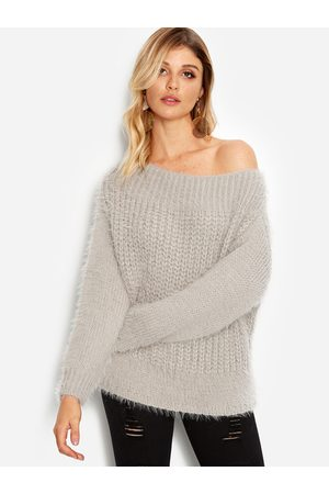 YOINS Plain One Shoulder Round Neck Long Sleeves Loose Fit Sweaters