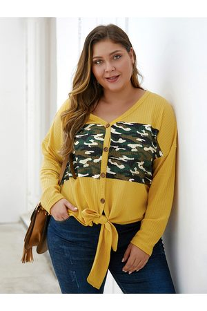 YOINS Plus Size Camouflage Patchwork Button Front V-neck Sweater