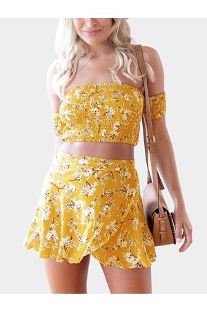 YOINS Random Floral Print Off Shoulder Crop Top & Self-tie Skirt Co-ord In Yellow