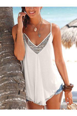 YOINS Sequins Embellished V-neck Sleeveless Cami