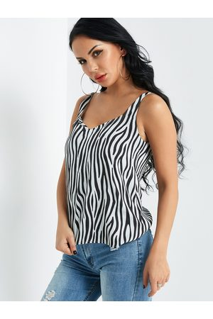 YOINS Women Tank Tops - Zebra Stripe Cami Top