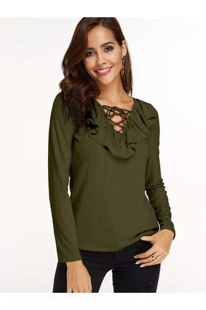 YOINS Women Long Sleeve - Army Stripe Flounced Details Lace Up Design Deep V-neck Long Sleeves T-shirt