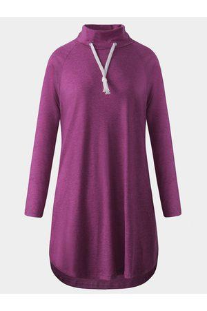 YOINS Women Blouses - Rose Drawstring High Neck Long Sleeves Curved Hem Shirt