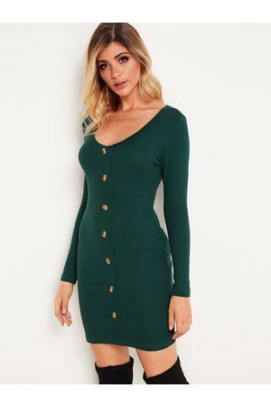 YOINS Women Bodycon Dresses - Button Design Deep V Neck Bodycon Dresses