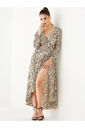 YOINS Apricot Random Snake Print Split V Neck Long Sleeves Dress