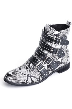 YOINS Women Ankle Boots - Grey Snake Rivet Design Buckles Ankle Boots