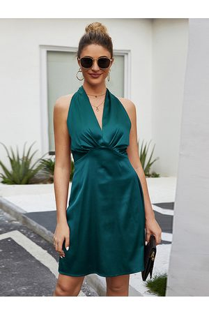 YOINS Backless Twist Design Halter Sleeveless Satin Dress