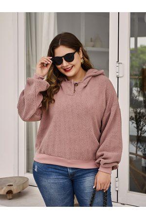 YOINS Plus Size Pink Button Design Hooded Design Lambswool Sweatshirt