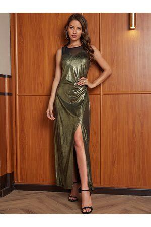 YOINS Gold Metallic Mesh Slit Design Round Neck Sleeveless Dress