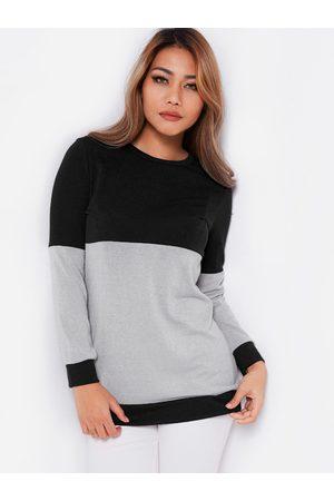YOINS Women Long Sleeve - & Grey Color Block Round Neck Long Sleeves T-shirt