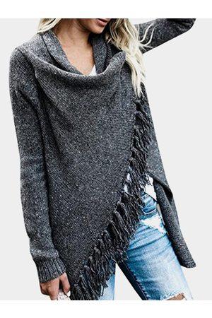 YOINS Dark Grey Tassel Details Long Sleeves Sweater