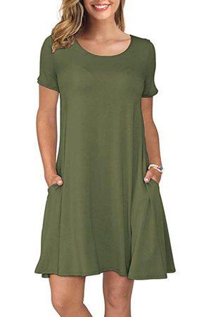 YOINS Round Neck Short Sleeves Side Pockets Dress