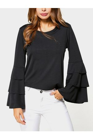 YOINS Round Neck Long Bell Sleeves Blouse
