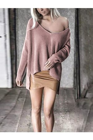 YOINS Pink One Shoulder Long Sleeves Knit Sweater
