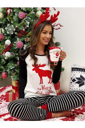 YOINS Christmas Print Stripe Pajamas Two Piece Outfit