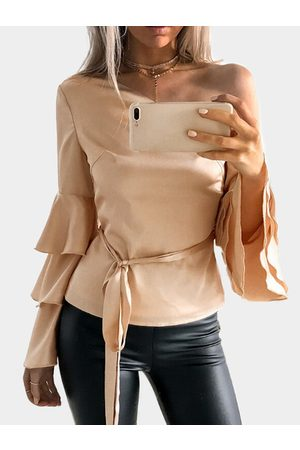 YOINS Apricot One Shoulder Ruffle Bell Sleeves Blouse with Belt