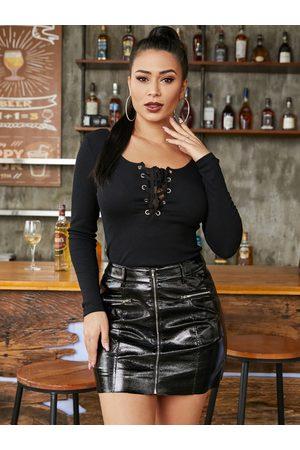 YOINS Black Lace-up Design Square Neck Long Sleeves Bodysuit