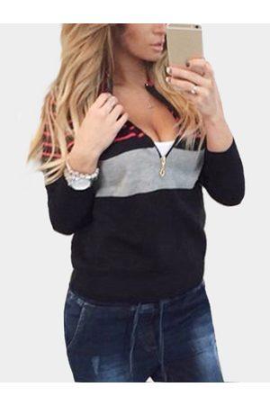 YOINS Black Fashion Knit Striped Long Sleeves Zip Up Sweatshirt