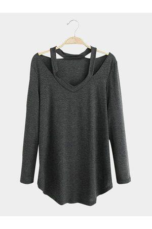 YOINS Cut Out Design V-neck Long Sleeves T-shirt