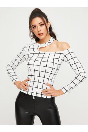 YOINS White Cut Out Plaid Asymmetrical Long Sleeves Shirt
