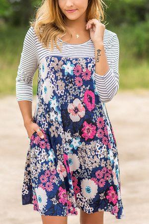 YOINS Random Floral Print Round Neck Long Sleeves Dress