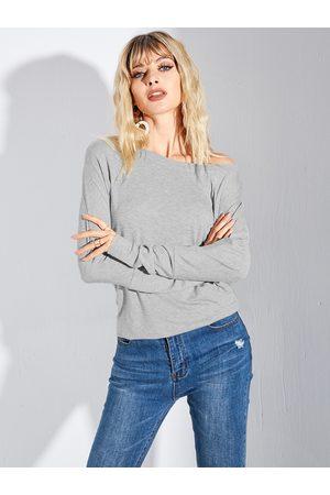 YOINS Women Long Sleeve - Grey Bateau Long Sleeves Tee