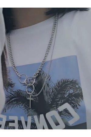 YOINS Women Necklaces - Hip Hop Cross Titanium Steel Pendant Multilayer Necklace