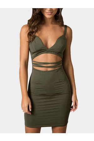 YOINS Women Bodycon Dresses - V Neck Cutout Sleeveless Bodycon Mini Dress
