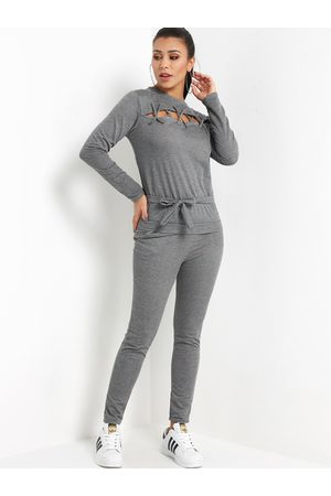 YOINS Lace-up Front Crew Neck Self-tie Design Two Piece Outfit With Slip Pockets