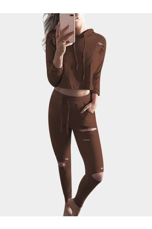 YOINS Women Long Sleeve - Coffee Ripped Details Long Sleeves Tracksuit