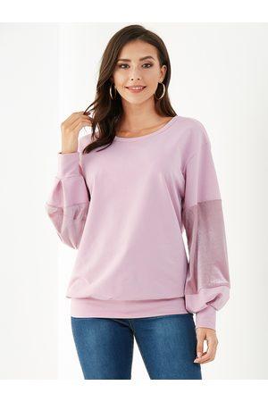 YOINS Women Sweatshirts - Velvet Patchwork Round Neck Puffy Sleeves Sweatshirt