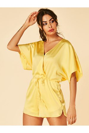 YOINS Women Short Sleeve - Neon V Neck Short Sleeves Playsuit With Wrap Design