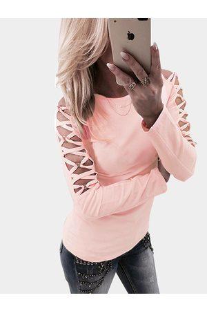 YOINS Hollow Design Criss-cross Detials Long Sleeves T-shirt