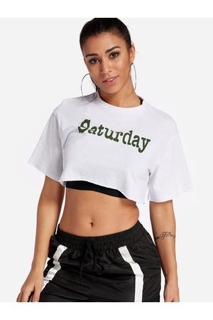 YOINS Letter Printed Crew Neck Short Sleeves Gym Tops