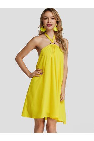 YOINS Women Halterneck Dresses - Neon Halter Strapless backless Chiffon Dress With Lining