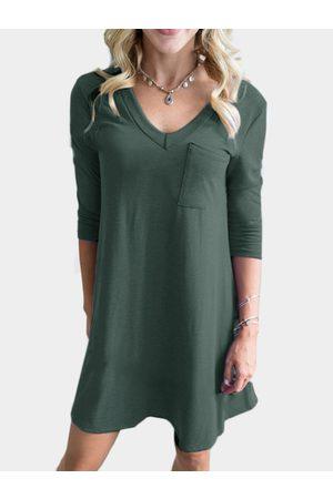 YOINS Pocket Design V-neck 3/4 Length Sleeves Dress