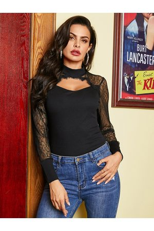 YOINS Black Lace Crew Neck Long Sleeves Top