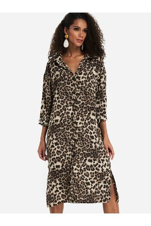 YOINS Leopard Printed Long Sleeves Work Dresses