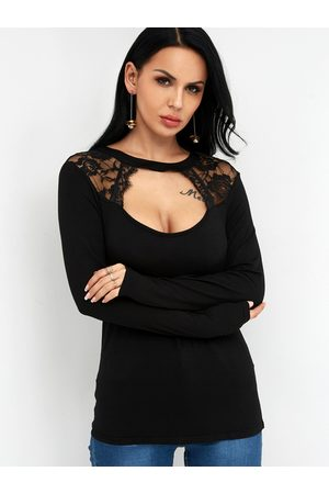 YOINS Women Long Sleeve - Lace Cut Out Crew Neck Long Sleeves T-shirt